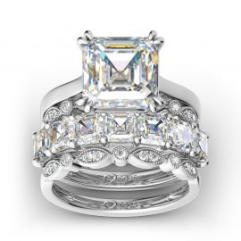 4PC Asscher Cut Sterling Silver Ring Set