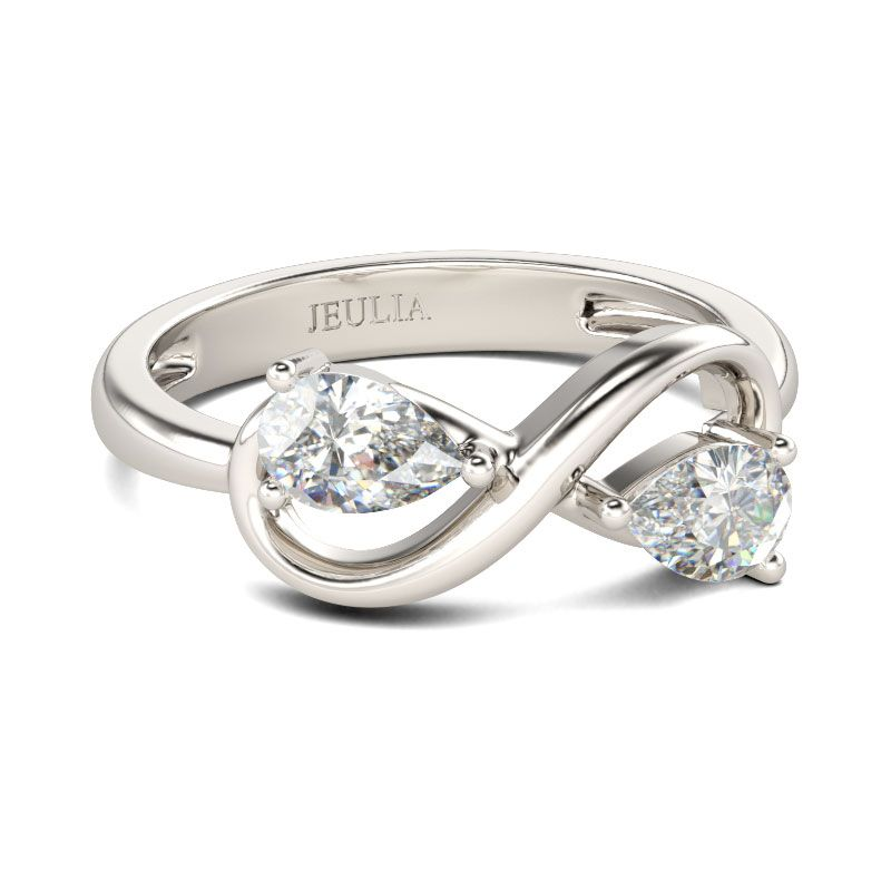 Two Stone Infinity Sterling Silver Ring - Jeulia Jewelry