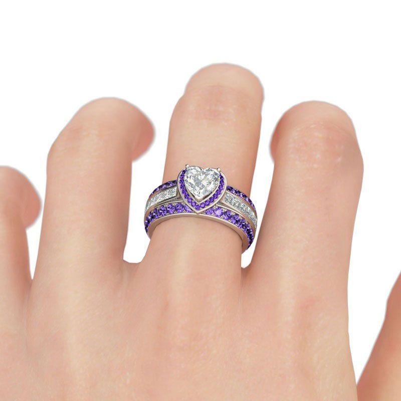 483c3c784 3PC Halo Heart Cut Sterling Silver Ring Set - Jeulia Jewelry