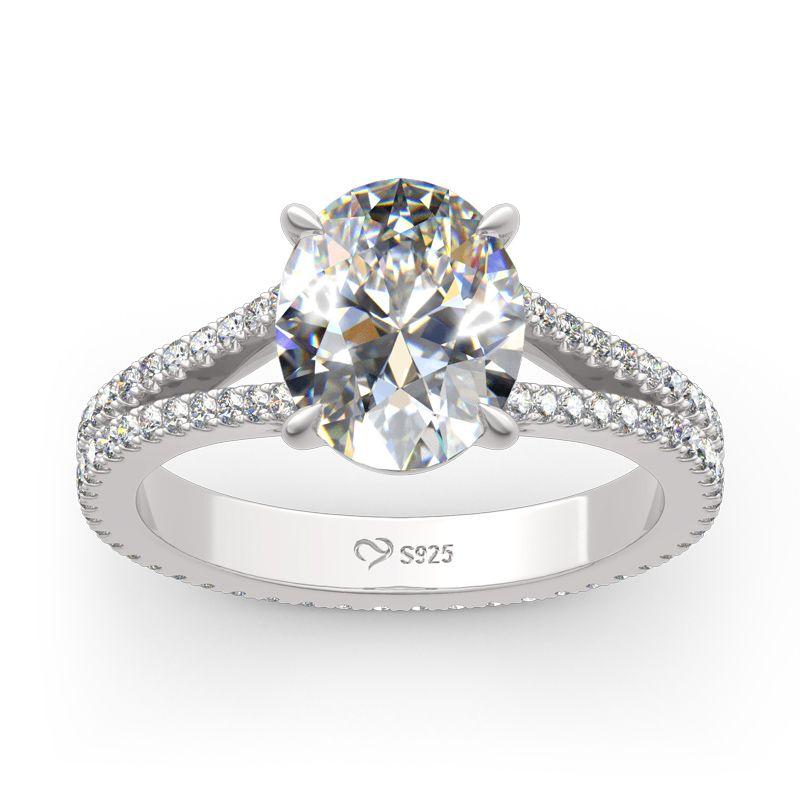 50a337696858f6 Split Shank Oval Cut Sterling Silver Eternity Ring - Jeulia Jewelry