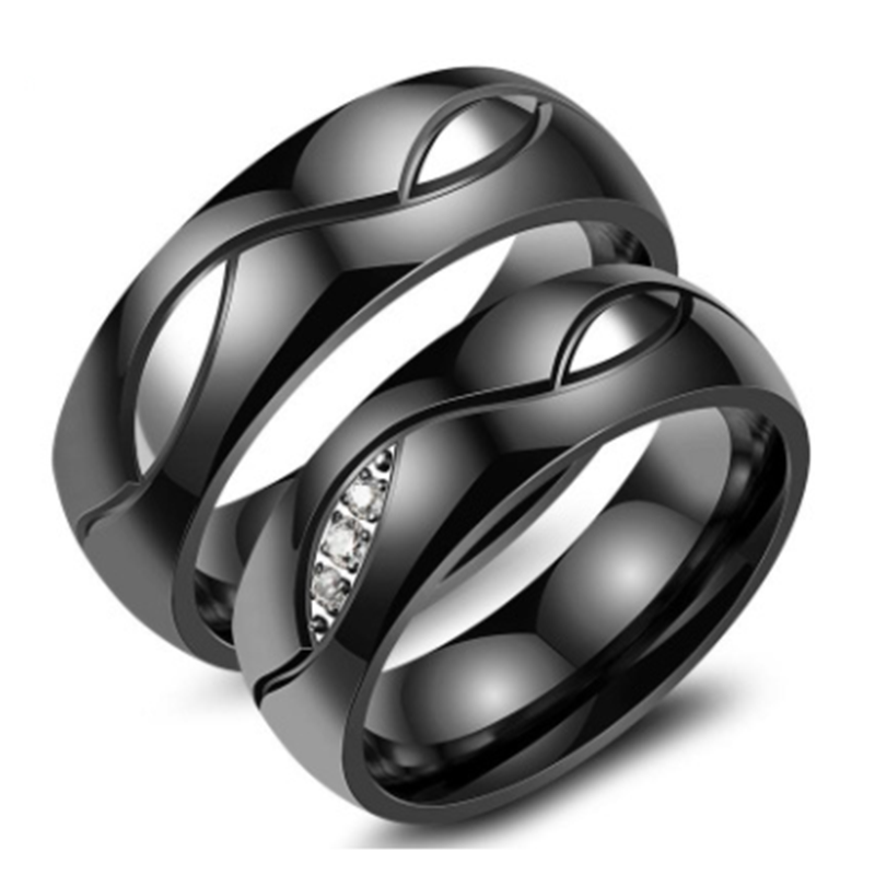 364b1ce0f4 Black Titanium Steel Couple Rings - Jeulia Jewelry