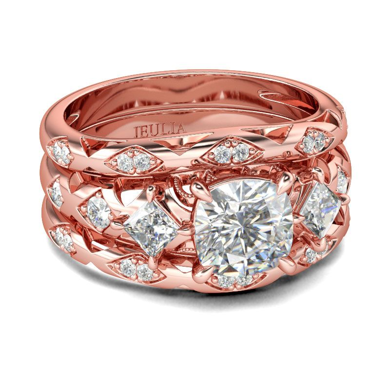 Rose Gold Tone Cushion Cut Sterling Silver Ring Set Jeulia Jewelry
