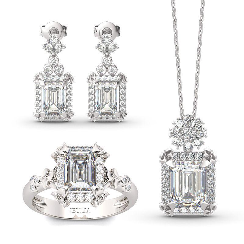 Vintage Flower Halo Emerald Cut Sterling Silver Jewelry Set - Jeulia Jewelry