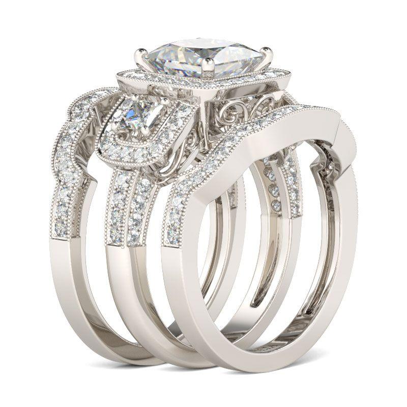 Halo Princess Cut Sterling Silver Ring Set - Jeulia Jewelry