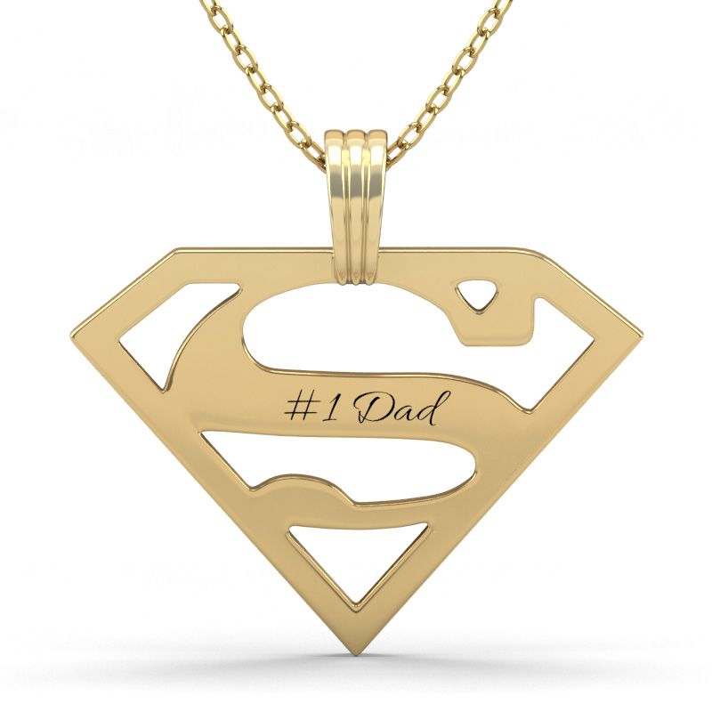 Superman Engraved Necklace For Men Sterling Silver Jeulia Jewelry