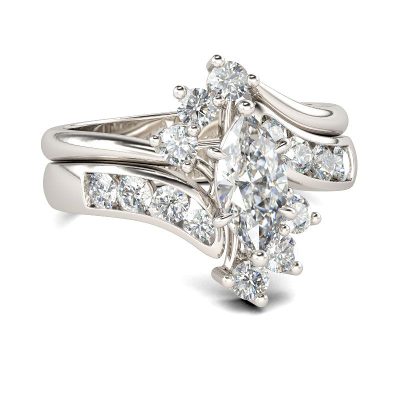 9038d3ae6 Bypass Marquise Cut Sterling Silver Ring Set - Jeulia Jewelry