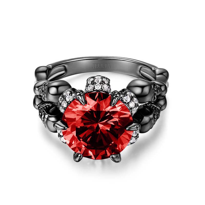 777e61f32a Cool Black Round Cut Sterling Silver Skull Ring - Jeulia Jewelry