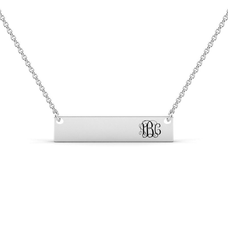 6c59bdc30 Monogram Sterling Silver Bar Necklace - Jeulia Jewelry