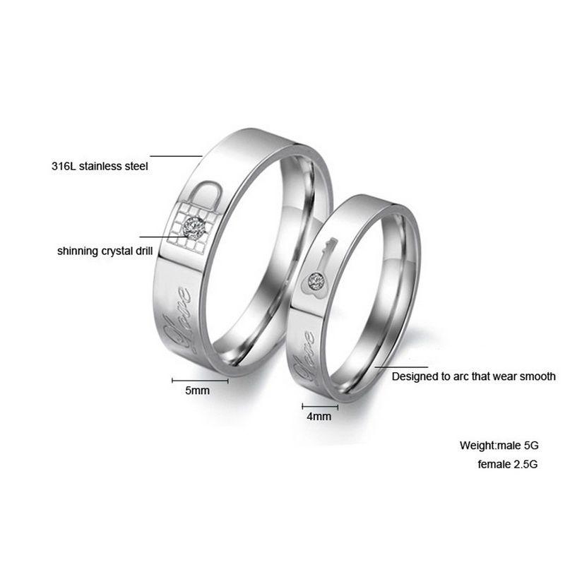 a17d999b37 Love Key And Lock Titanium Steel Couple Rings - Jeulia Jewelry