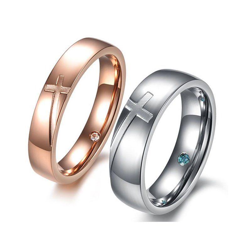 Fancy Cross Titanium Steel Couple Rings - Jeulia Jewelry