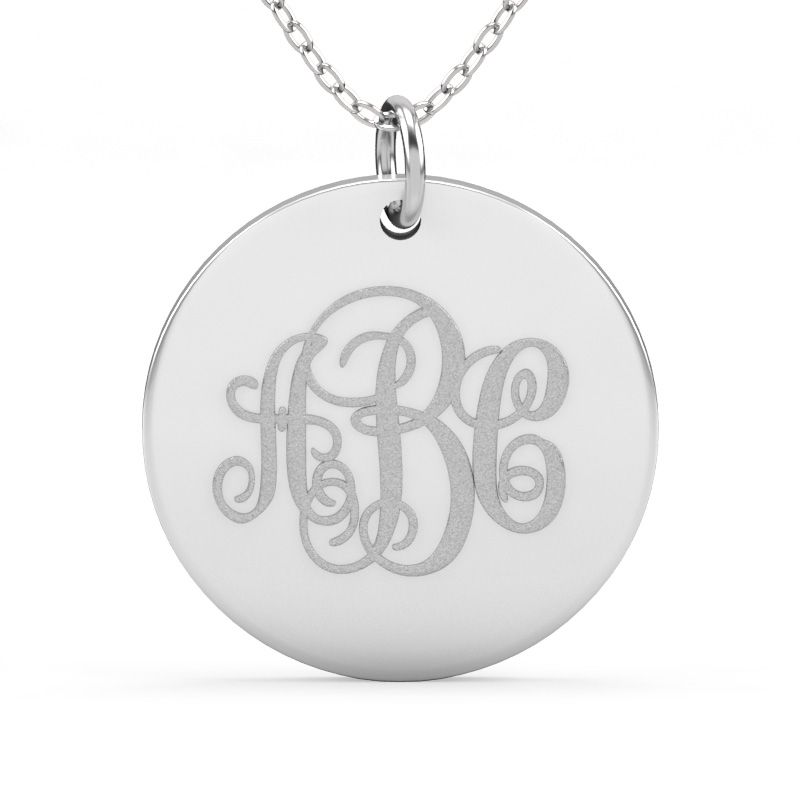 b186aba80 Engraved Disc Monogram Necklace Sterling Silver - Jeulia Jewelry