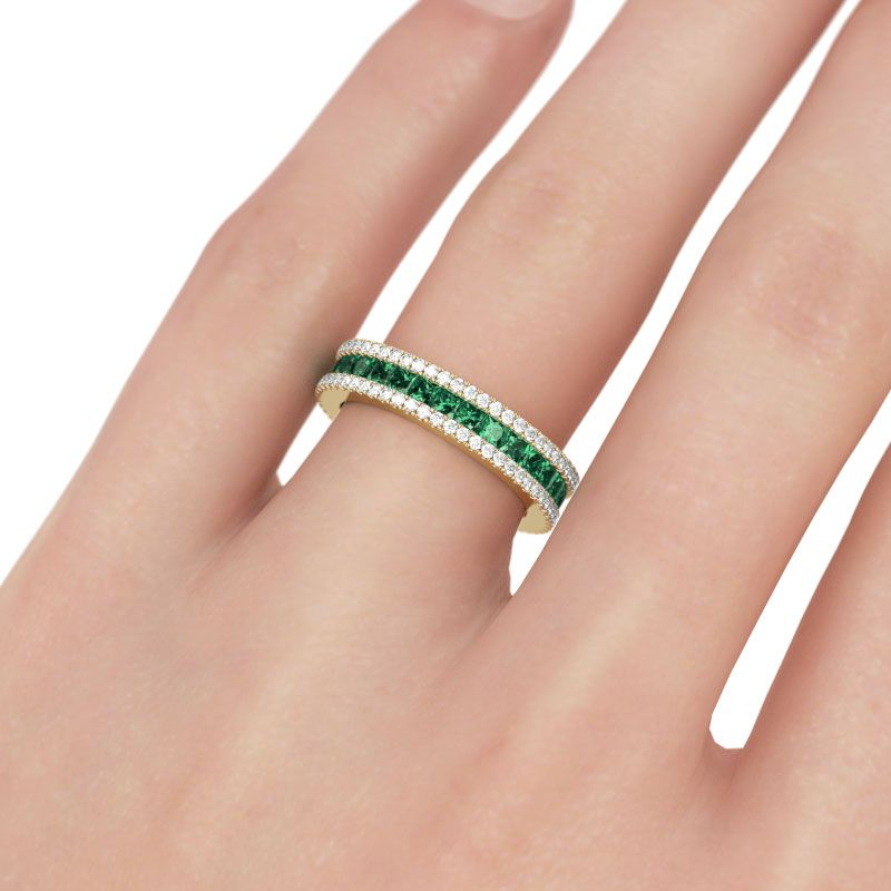 ring bands e pave split carat twisting a color clarity and center emerald gold with shank infinity set engagement dp diamond band cut