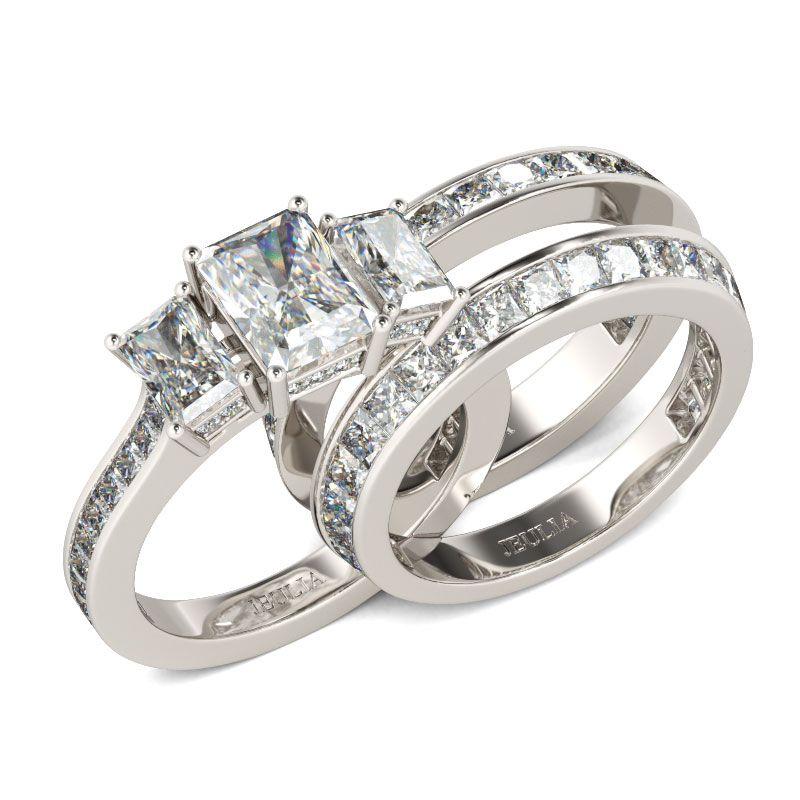 3PC Three Stone Radiant Cut Sterling Silver Ring Set Jeulia Jewelry