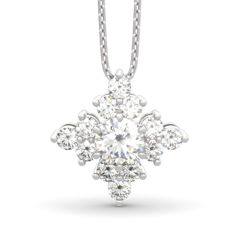 ac8940234 Sparkling Cluster Round Cut Sterling Silver Necklace - Jeulia Jewelry