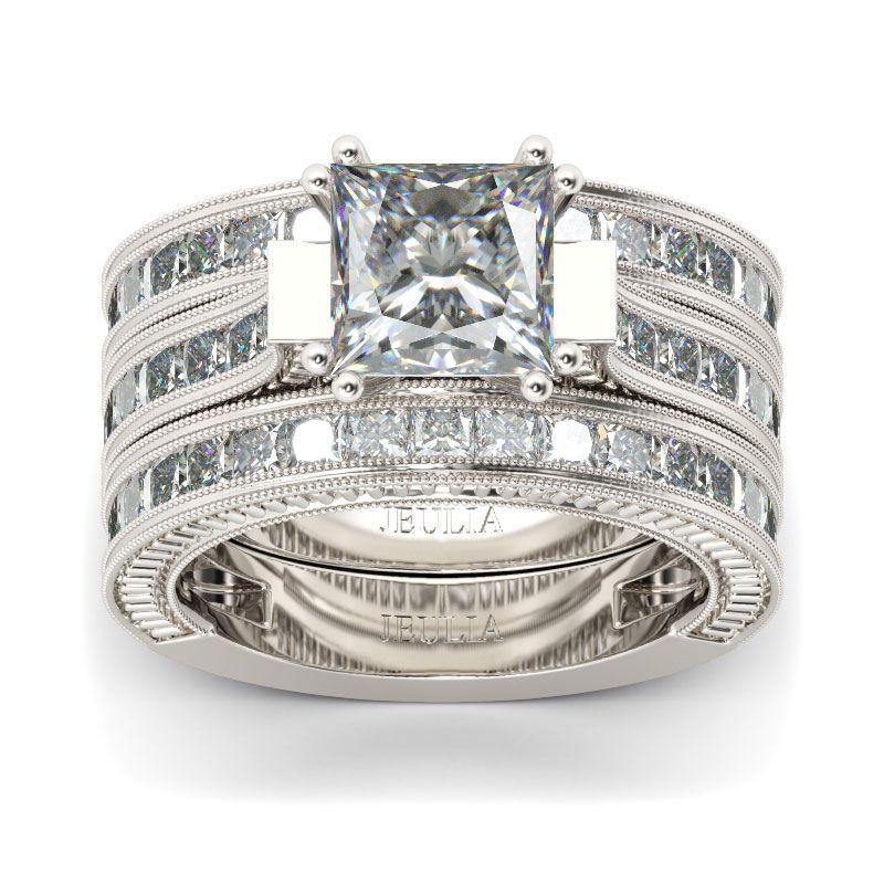 3PC Princess Cut Sterling Silver Ring Set Jeulia Jewelry