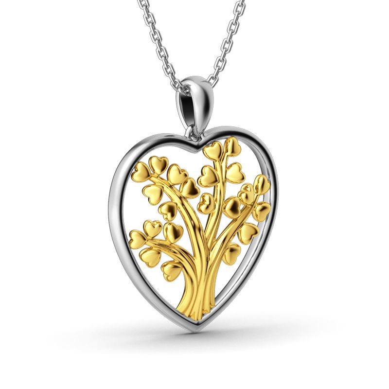heart diamond pendant index shaped gold yellow full