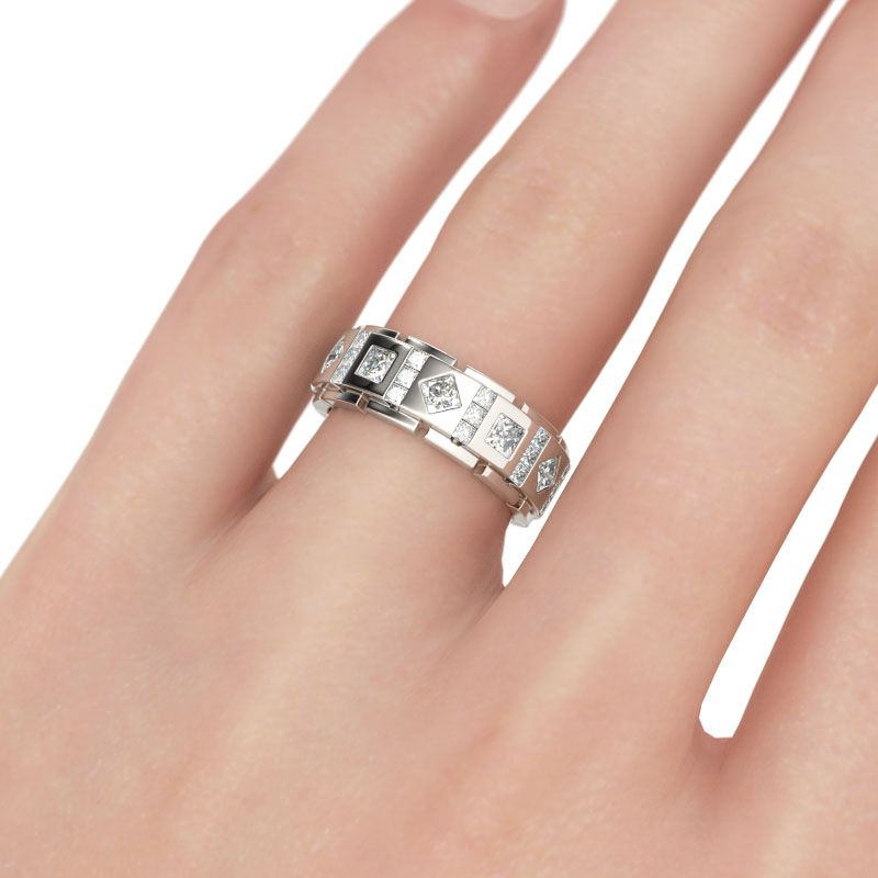 Princess Cut Sterling Silver Mens Band Jeulia Jewelry