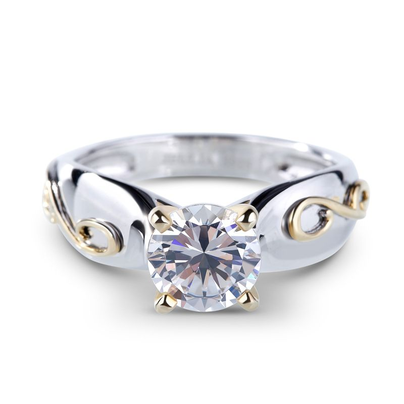 34a235b350c Two Tone Solitaire Round Cut Sterling Silver Ring - Jeulia Jewelry