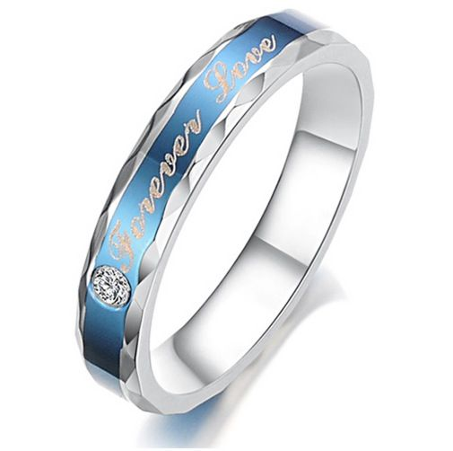 Unique Blue Stone Titanium Steel Couple Ring Jeulia Jewelry