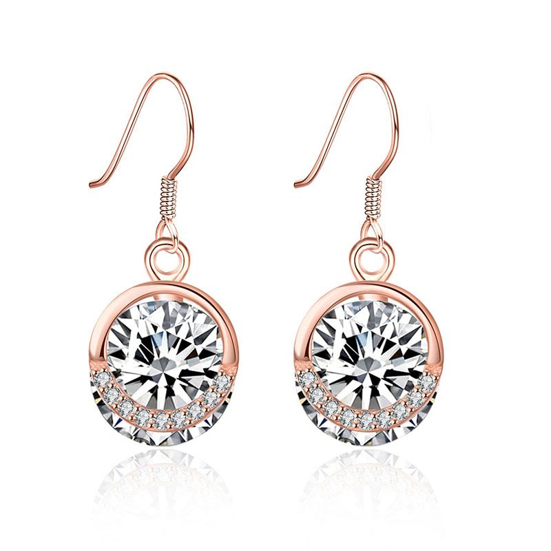 20cb3265fd Rose Gold Tone Round Cut Stone Sterling Silver Earring Drops - Jeulia  Jewelry