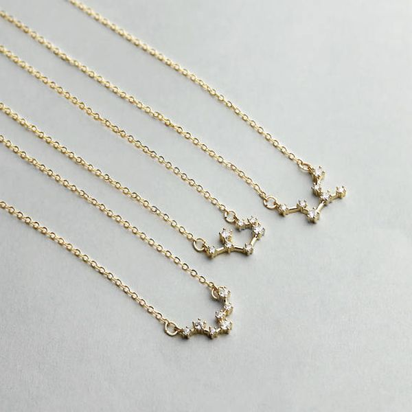 gold friend silver aquarius item sign zodiac star constellation for gift necklace