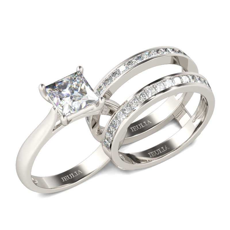 Princess Cut Enhancer Sterling Silver Ring Set Jeulia Jewelry