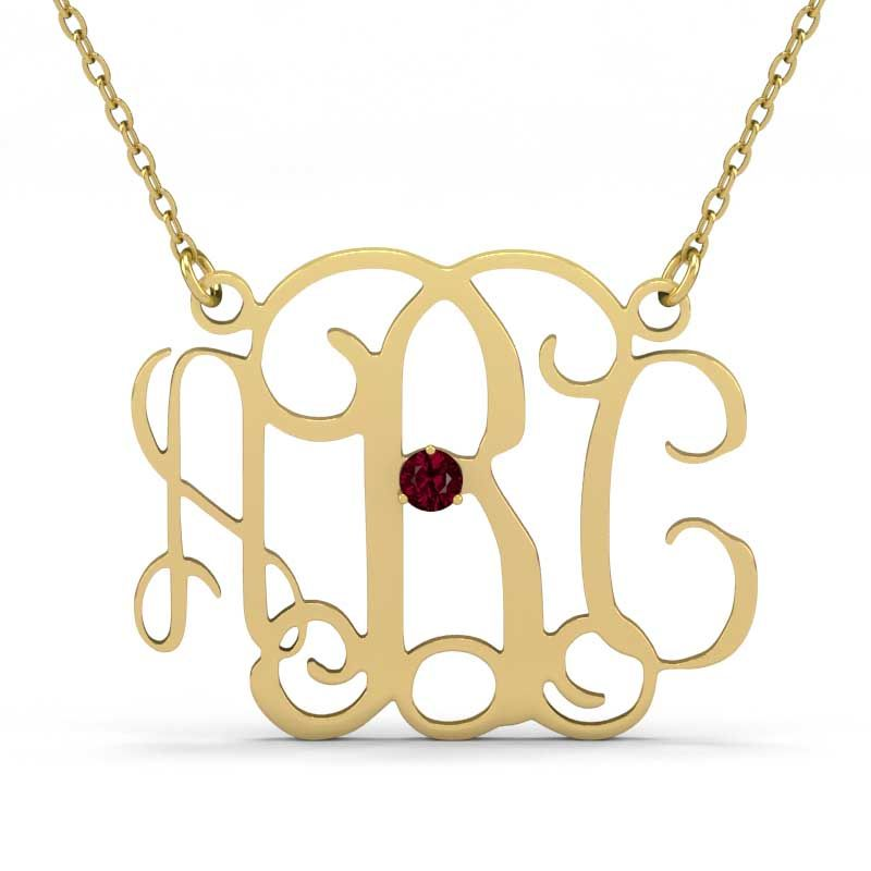 e32dbbeb5 Monogram Necklace With One Birthstone Sterling Silver - Jeulia Jewelry