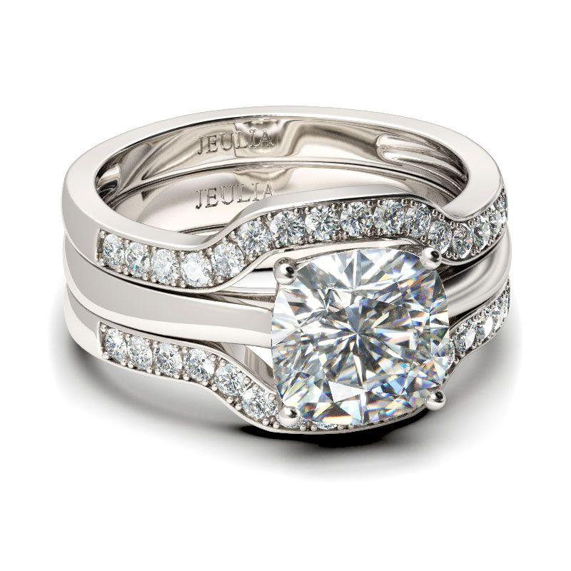 3PC Cushion Cut Sterling Silver Ring Set Jeulia Jewelry