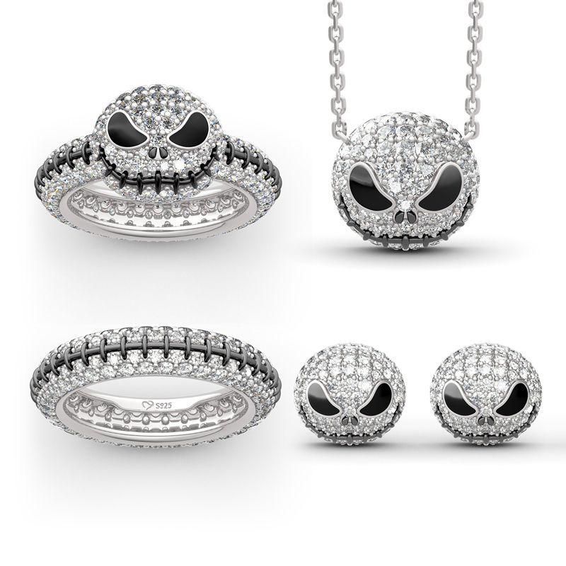 """Pumpkin King"" ""Jack Skull"" Sterling Silver Jewelry Set - Jeulia Jewelry"