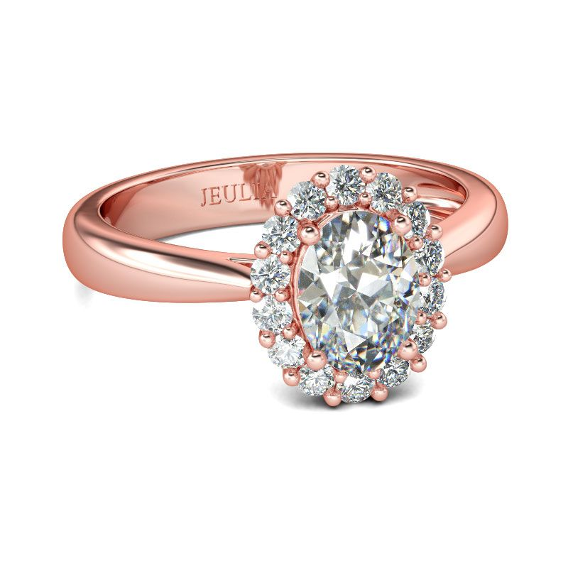 Rose Gold Halo Oval Cut Sterling Silver