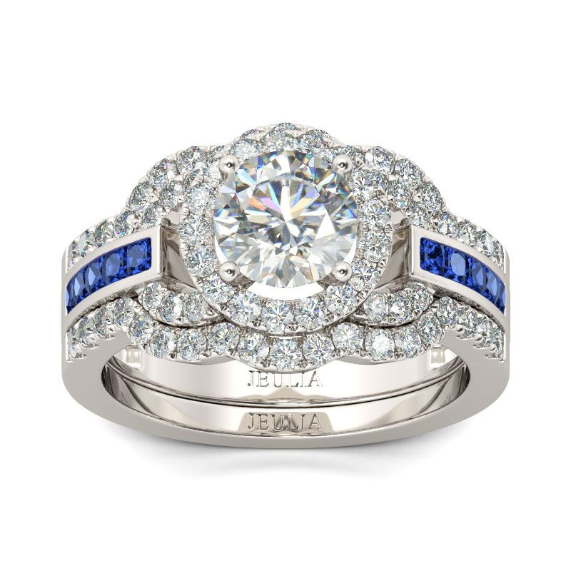 3PC Halo Round Cut Sterling Silver Ring Set Jeulia Jewelry
