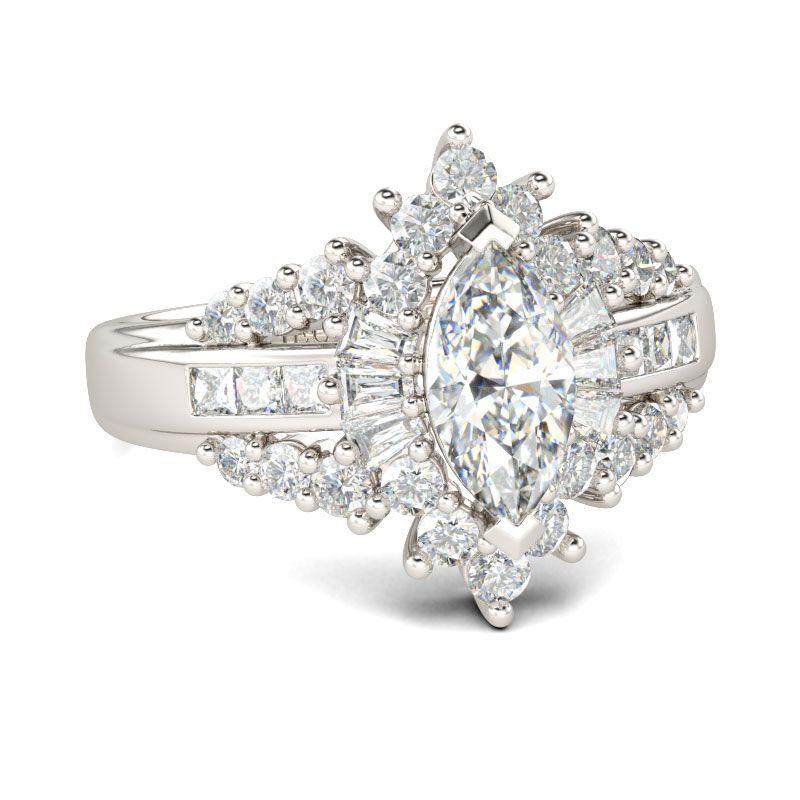 da430690d Unique Halo Marquise Cut Sterling Silver Ring - Jeulia Jewelry