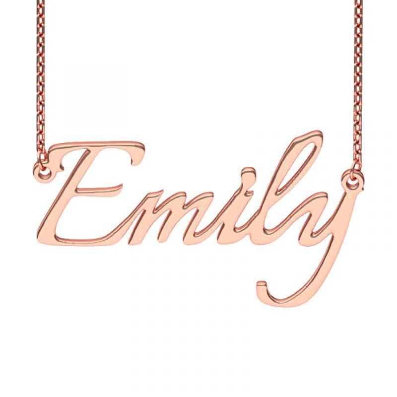 Rose Gold Tone Italianno Regular Style Name Necklace