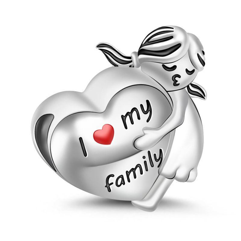 I Love My Family Charm Sterling Silver Jeulia Jewelry