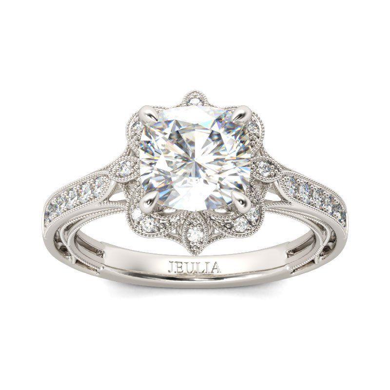 4dd178de2f2348 Vintage Floral Cushion Cut Sterling Silver Ring - Jeulia Jewelry