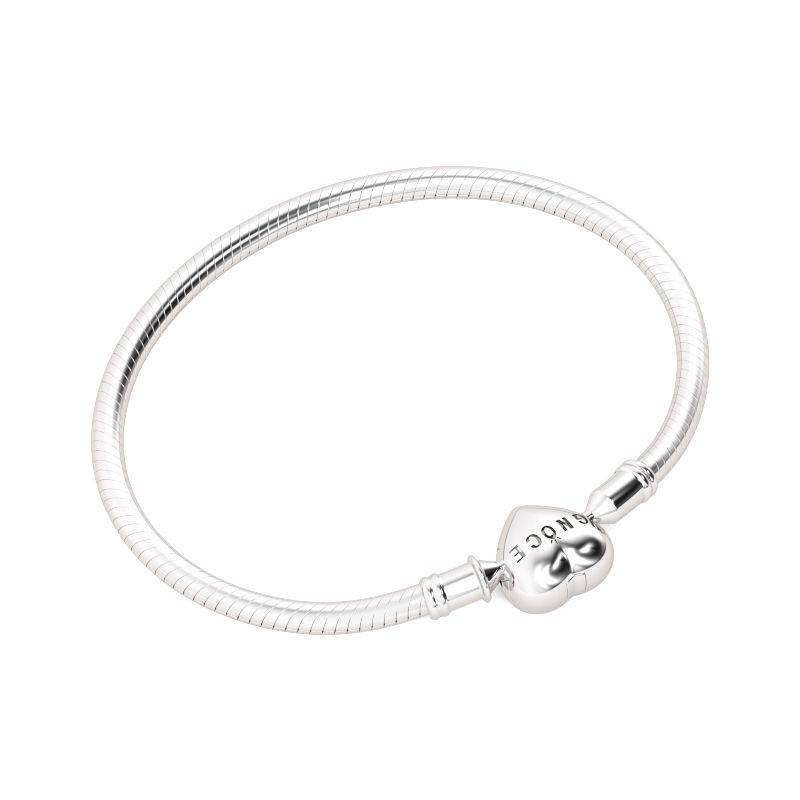 clasp bangles pandora logo bangle silver bracelet moments heart
