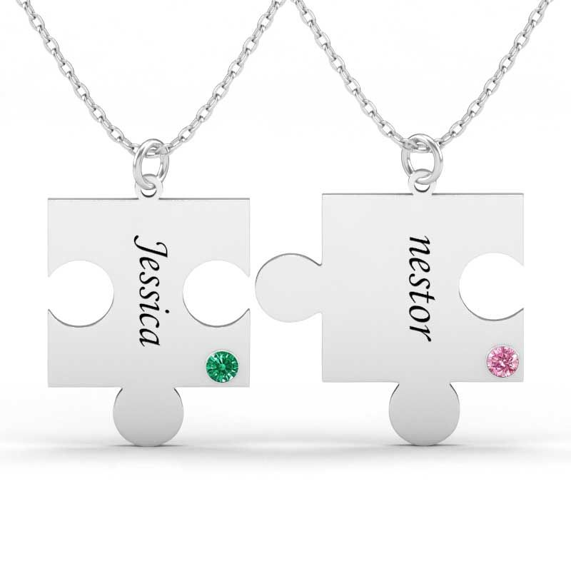e120fdb1b6 Engraved Puzzle Necklace With Name & Birthstones For Couple Sterling Silver  - Jeulia Jewelry