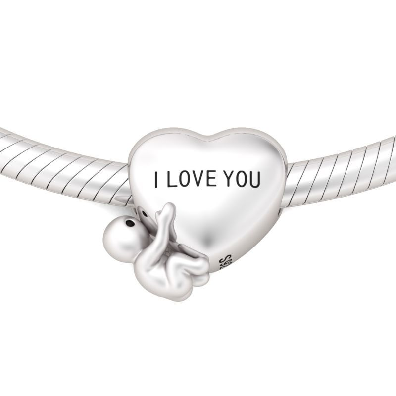Sterling SilverHEART BAND Word Heart Charm With Eighth Note Love