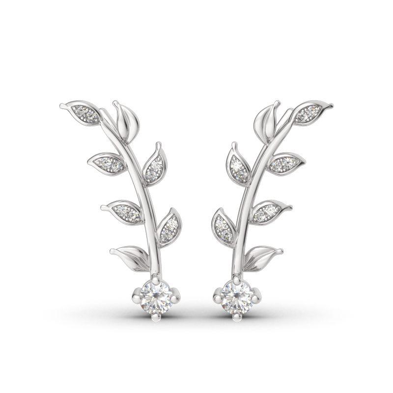 07e187f07 Sterling Silver Leaves Earring Climber - Jeulia Jewelry