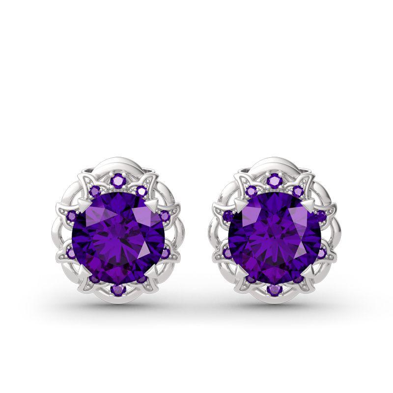 1d55ebd1b Amethyst Flower Round Cut Sterling Silver Stud Earrings - Jeulia Jewelry