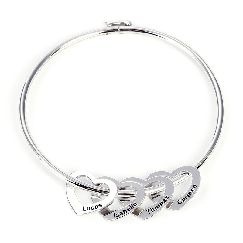 6dfabb686 Bangle Bracelet with Heart Shape Pendants in Sterling Silver - Jeulia  Jewelry