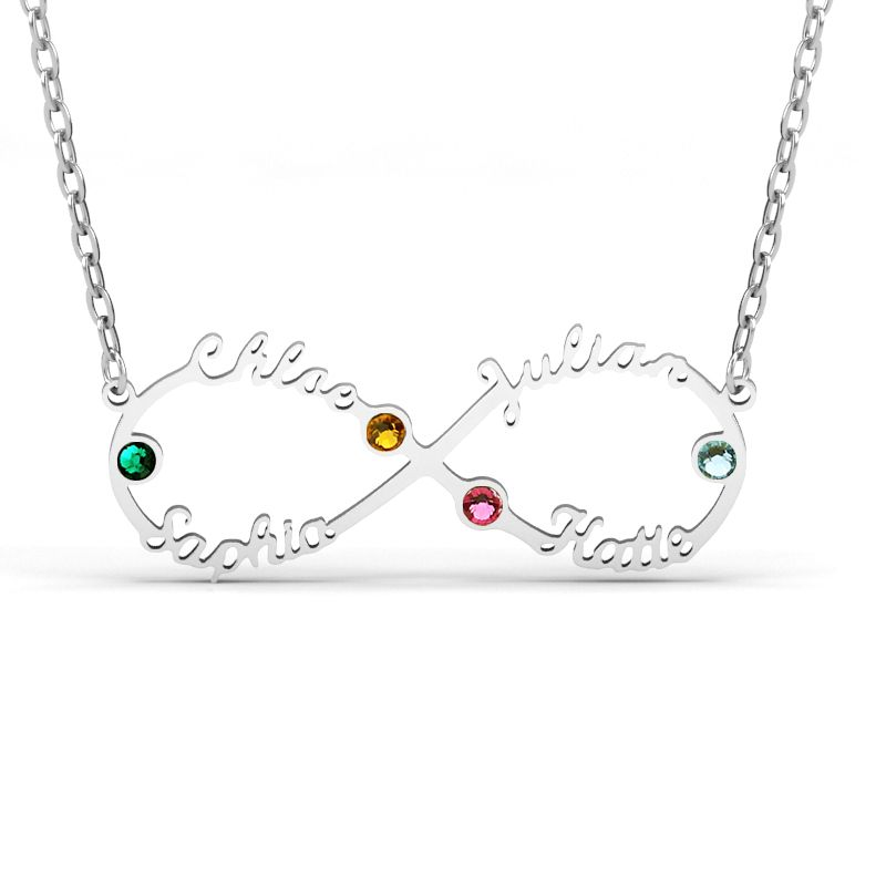 d91b42aed0171 Infinity Sterling Silver Name Necklace With Stones