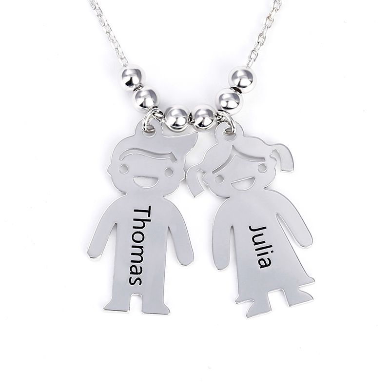 8ef3cb3c2 Engraved Children Charms Sterling Silver Mother's Necklace - Jeulia Jewelry