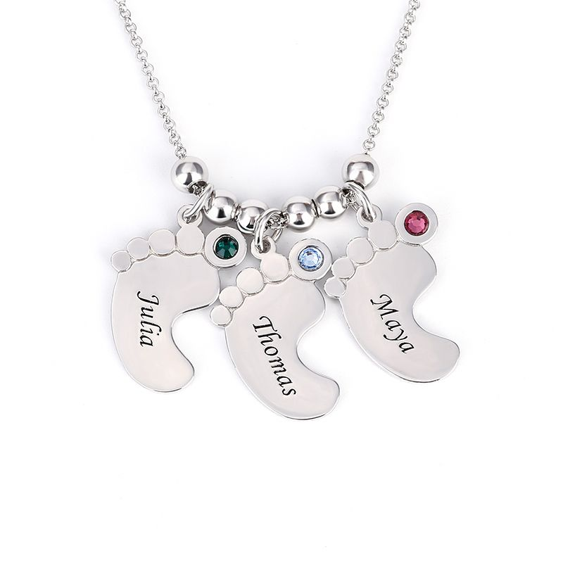 Elephant with Crystal Eyes Custom Engraved Baby Feet Heart Locket Necklace