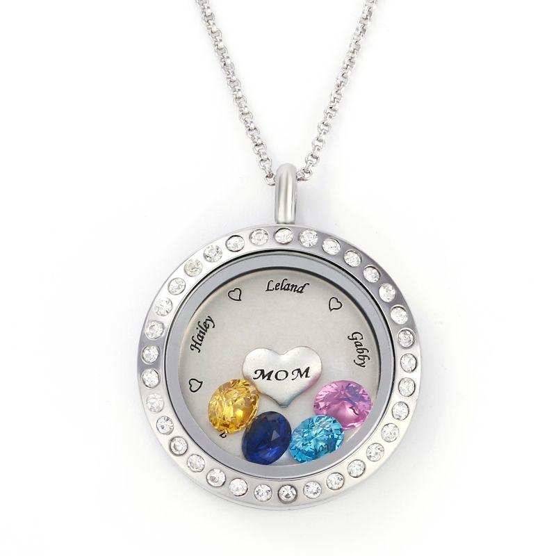 fbac3405dc6 Engraved Floating Locket Necklace With Charms And Birthstones Stainless  Steel - Jeulia Jewelry