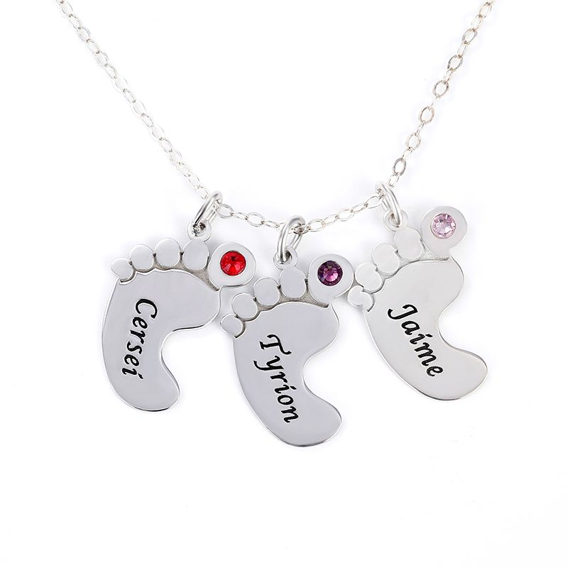 Baby feet stirling silver necklace
