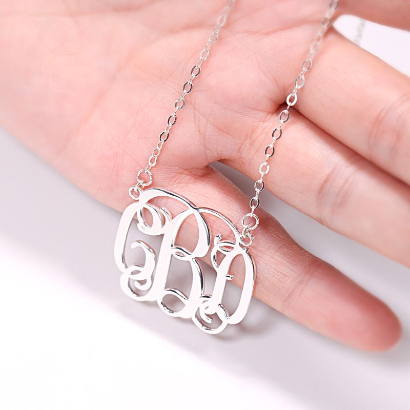 1f220f6df Classic Sterling Silver Monogram Necklace; Classic Sterling Silver Monogram  Necklace