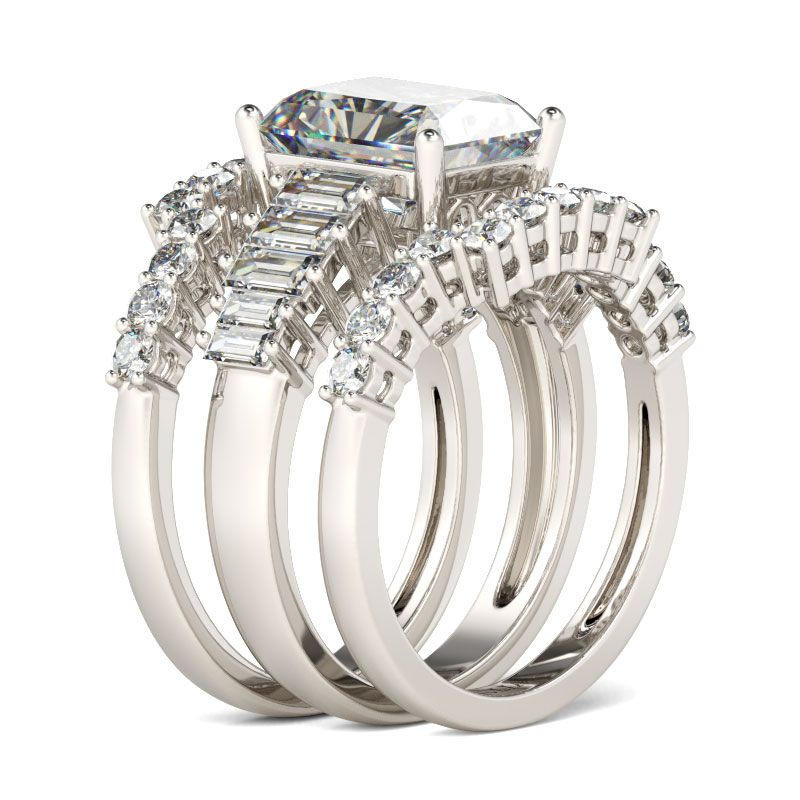 ... 3PC Radiant Cut Sterling Silver Ring Set ...