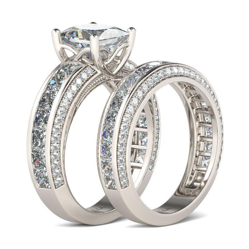 Jeulia Princess Cut Sterling Silver Women's Ring Set