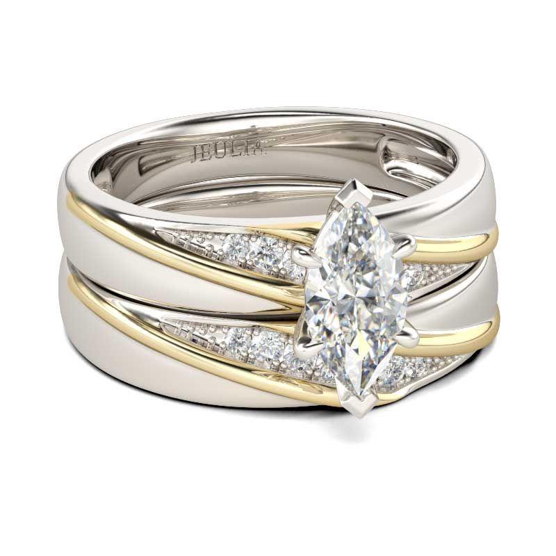 c8f582e5d Diagonal Marquise Cut Sterling Silver Ring Set - Jeulia Jewelry